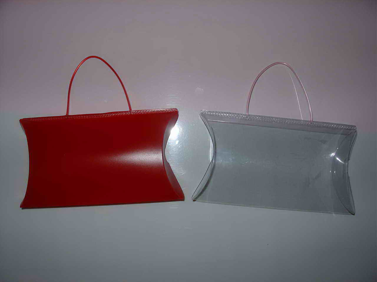 Pillow Boxes Made into Shopping Carry Bags