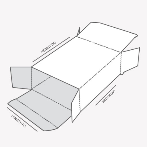 Reverse Tuck End Box with dimensions