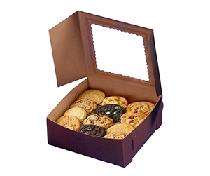 Brown colour window Cookie Boxes design for customers