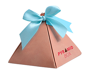 Pyramid gift Boxes with emballished items decorated images