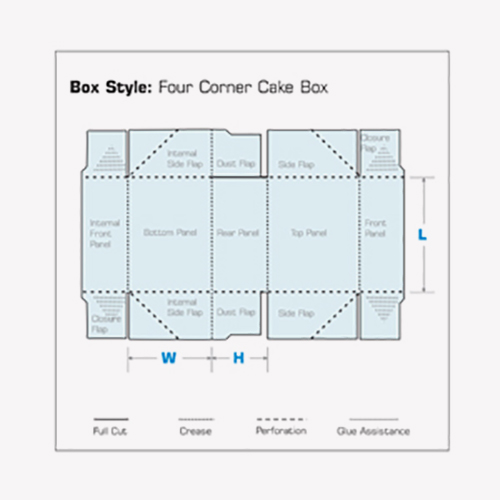 structural unfolded flat 2d design box Four Corner Cake Boxes