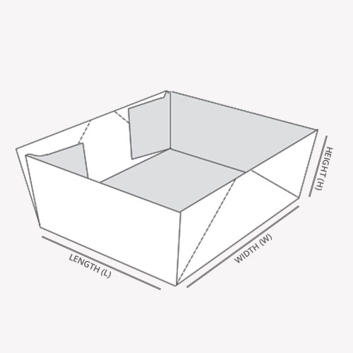 Four Corner Tray with dimensions