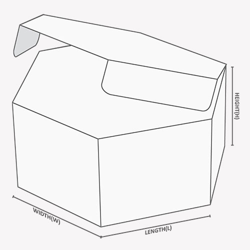 six sided design of Hexagon Boxes with dimensions