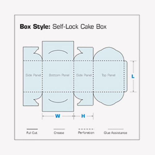 Self-Lock Cake Boxes 2d flat view template